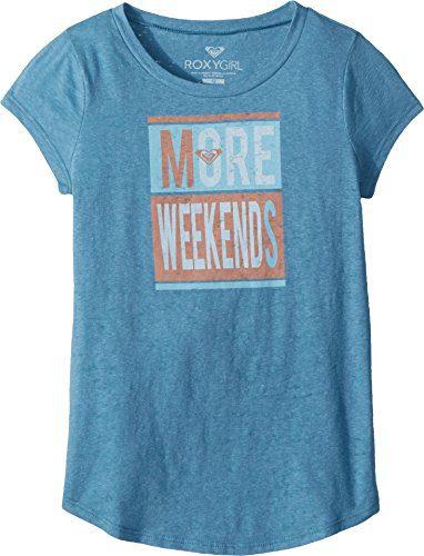Roxy Big Girls' Weekend Crew T-Shirt, Storm Blue, 10/M