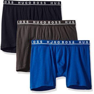 Hugo Boss BOSS Men's Cotton Stretch Boxer Brief, Pack of 3, True Blue/Sky Captain/Forged Iron, Medium