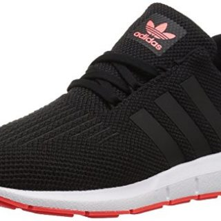 adidas Originals Unisex-Kids Swift Running Shoe, Black/Black/Solar Red, 3 M US Little Kid