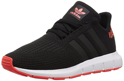 adidas Originals Unisex-Kids Swift Running Shoe, Black/Black/Solar Red, 3 M US Little Kid