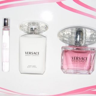 Versace Bright Crystal Gift Set 3 Pcs, 3.0 Oz Edt,3.4 Oz Body Lotion, 10 Ml Mini Edt