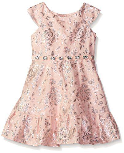 Sweet Heart Rose Little Girls' Metallic Lace Dress with Ruffle Pleated Hem Skirt, Blush, 5