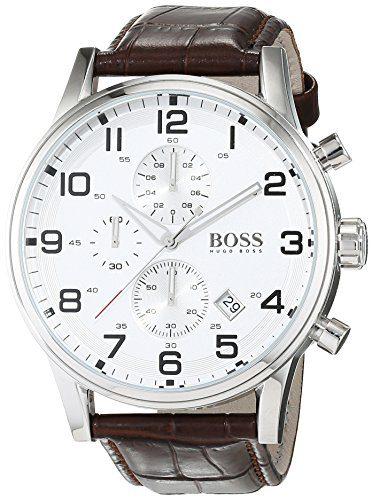 Hugo Boss Silver Dial SS Leather Chrono Quartz Mens Watch