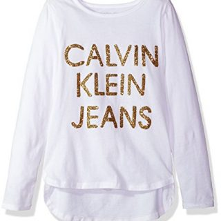 Calvin Klein Big Girls' Dispersed Glitter Logo Tee, White, Medium (8/10)