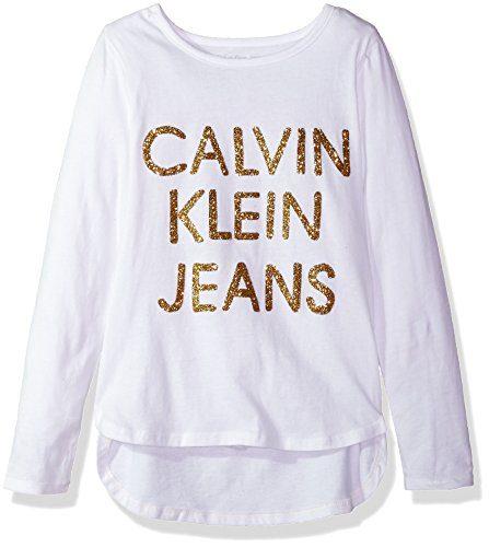 Calvin Klein Big Girls' Dispersed Glitter Logo Tee, White, Medium (8/10)