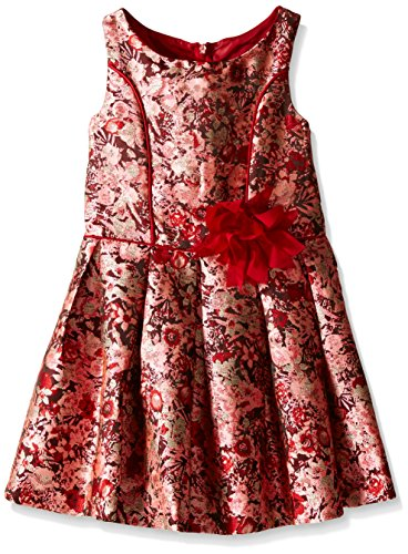 Bonnie Jean Girls Sleeveless Floral Brocade Party Dress, Red, 6
