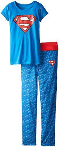 DC Comics Girls 'Superman Supergirl Digital Athletic Sport' Yoga Pajama Set, Blue, 7/8