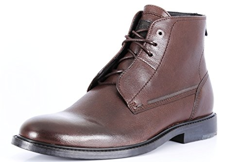 Hugo Boss Orange Label Grained Smooth Leather Lace up Ankle Boots Cultroot Halb lt Men's Shoes Dark Brown (10 D (M) US)