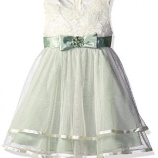 Rare Editions Little Girls' Toddler Ivory Soutach to 2 Tiered Ballerina Dress, Sage, 3T