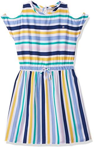 Calvin Klein Little Girls' Multiway Stripe Dress, Multi Bold Stripe, 6