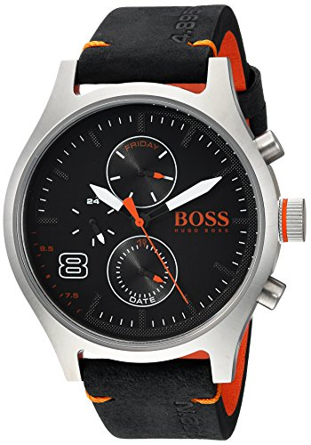 Hugo BOSS Men's 'Amsterdam' Quartz Stainless Steel and Leather Casual Watch, Color Black