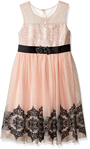Bonnie Jean Girls' Sequin Tulle Mesh Illusion Dress, Pink,5