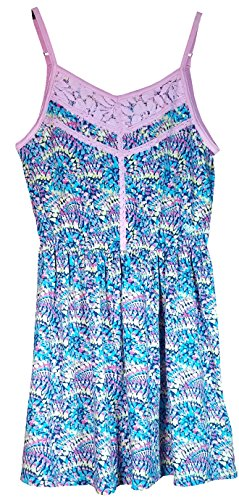 Roxy Girl Ethereal Blue and Pink Lace Sun Dress (Large 14/16, Ethereal Blue)