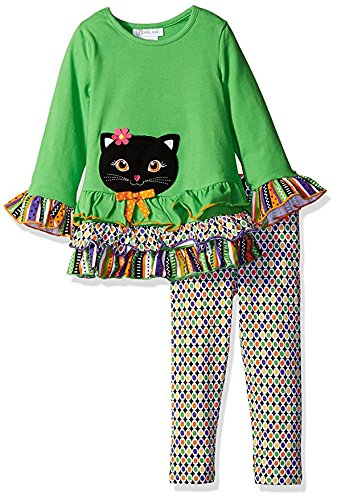 Bonnie Jean Little Girls' Toddler Cat Appliqued Knit Halloween Legging Set, Green, 3T