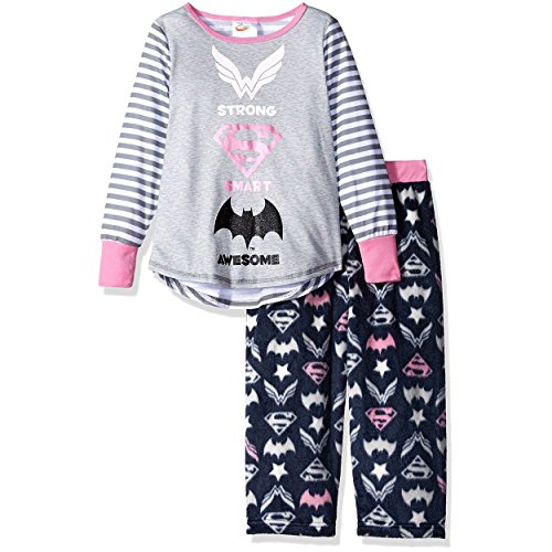DC Comics Super Hero Girls Mink Fleece Pants and Poly Top Pajamas, Grey, 7/8