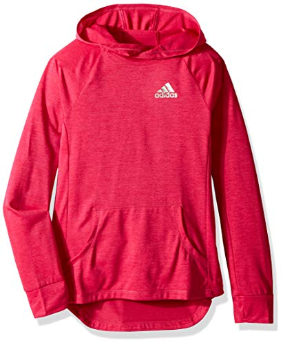 adidas Big Girls' Performance Hoodie, Real Magenta Heather, L