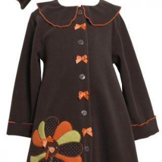 Bonnie Jean Girls Turkey Thanksgiving Fall Winter Coat & Hat Set, Brown, Size 6