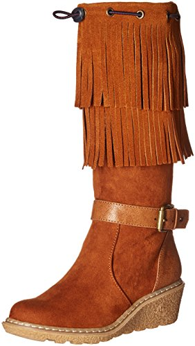 Tommy Hilfiger Kids Heidi Fringed Wedge Boot (Little Kid/Big Kid), Cognac, 13 M US Little Kid