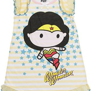 DC Comics Toddler Girls' Justice League Chibis Wonder Woman Pajama Dress, Yellow, 4T