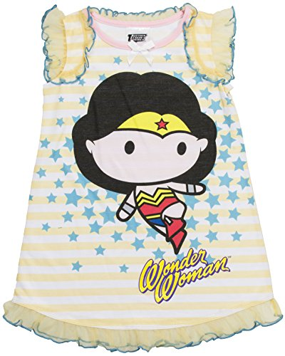 DC Comics Toddler Girls' Justice League Chibis Wonder Woman Pajama Dress, Yellow, 4T