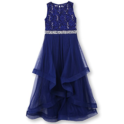 Speechless Big Girls' Formal Dance and Party Dress with Wide Ribbon Hem, Cobalt Silver, 10