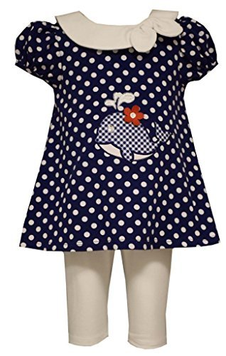 Little Girls Polka Dot Whale Applique Nautical Dress/Legging Set, Bonnie Jean, Navy, 6