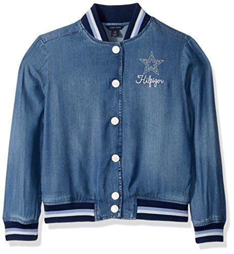 Tommy Hilfiger Big Girls' Denim Baseball Jacket, Rinsed Indigo, Medium