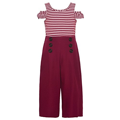 Bonnie Jean Little Girls Burgundy Stripe Cold Shoulder Button Romper 6