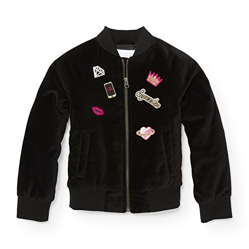 The Children's Place Big Girls' Bomber Jacket with Patches, Black, L (10/12)
