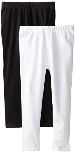 The Children's Place Big Girls' Solid Legging (Pack of 2), Black/White, X-Small (4)