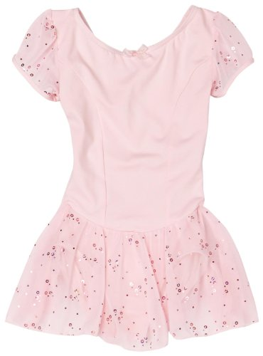 Capezio Little Girls' Sequined Puff Sleeve Dress, Pink,  Intermediate (6-8)