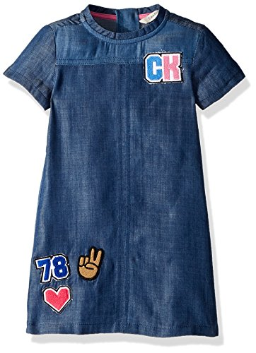 Calvin Klein Big Girls' Denim Dress, Color Block, Medium (8/10)