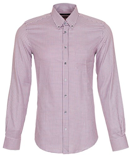 Gucci Men's Classic Micro Check Cotton Button Down Dress Shirt, 15, Pink
