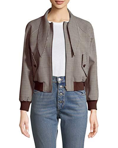 Balenciaga Womens Cropped Check Bomber Jacket, 38