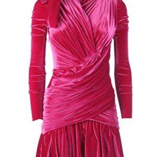 Balenciaga Women's Fuchsia Velvet Dress