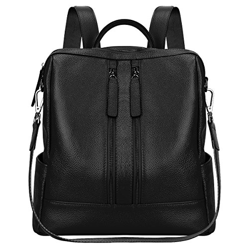 S-ZONE Women Genuine Leather Backpack Casual Shoulder Bag Purse Medium (Black)