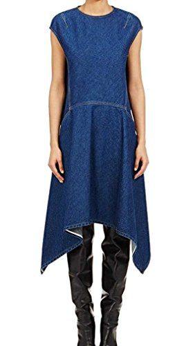 Balenciaga Denim Handkerchief-Hem Cap-Sleeve Tunic Dress Blue 40