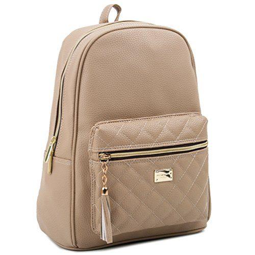 Copi Women's Simple Design Modern Cute Fashion small Casual Backpacks Beige