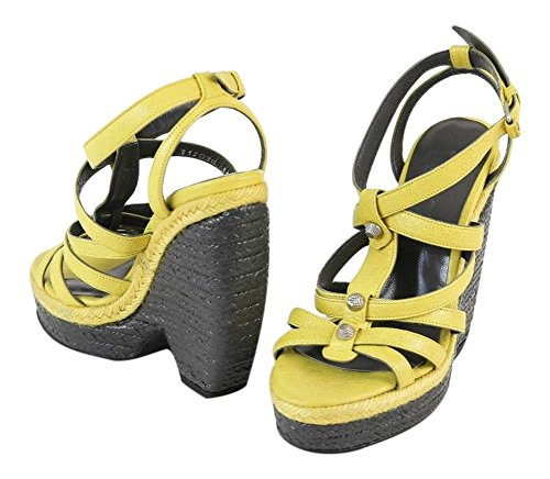 Balenciaga Gray and Yellow Leather Strappy Wedge Heels Shoes Size 6/36