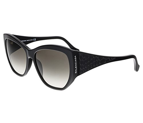 Balenciaga Women's Shiny Black Leather Fashion Sunglasses 58mm