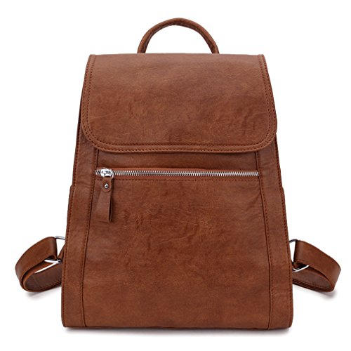 Backpack purse for women, Fashion Flap Brown Faux Leather