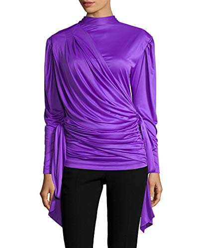 Balenciaga Womens Ruched Mock Neck Blouse, 36