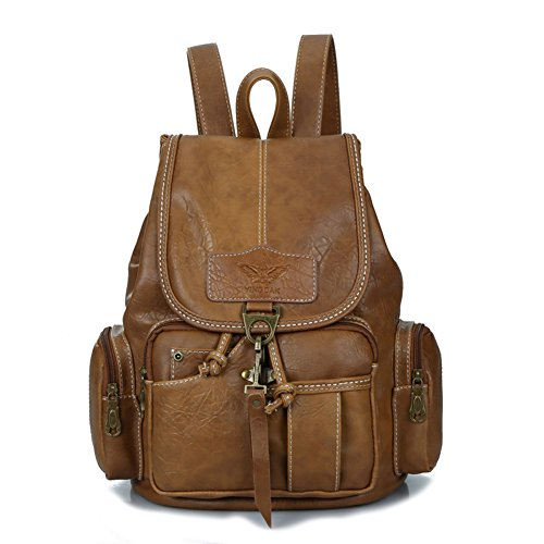 Womens New Fashion Backpack Vintage Style Waterproof Leather
