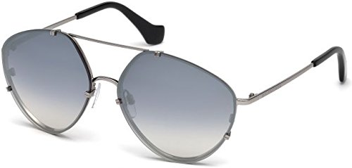 Balenciaga Women's Light Ruthenium Metal/Black Temple Tip/Gradient Smoke Lenses One Size