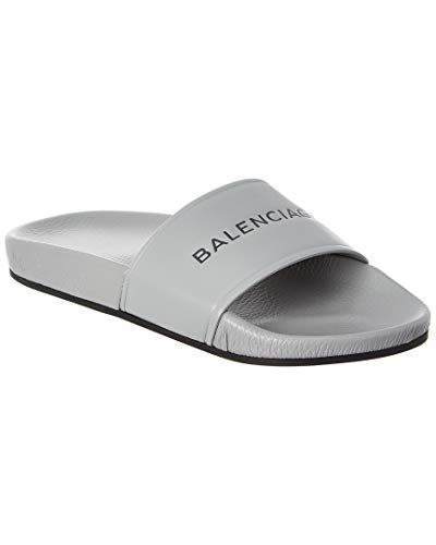 Balenciaga Leather Pool Slide Sandal, 36, Grey