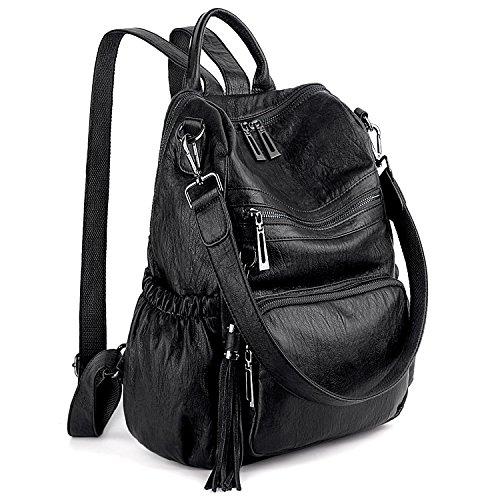 UTO Women Backpack Purse PU Washed Leather Convertible Ladies