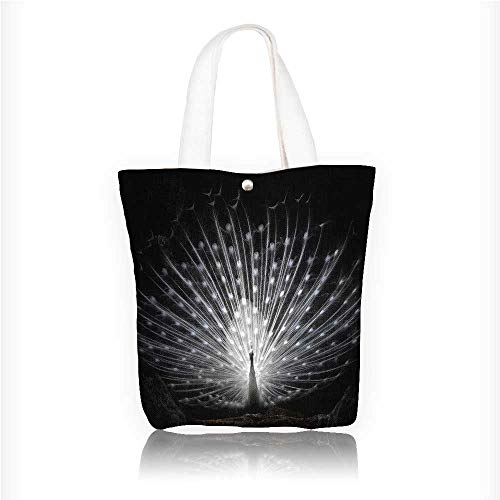 Canvas Shoulder Hand Bag white peacock Tote Bag for Women Large