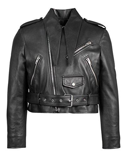 Balenciaga Black Leather Zip-Up Motorcycle Jacket Size 38/2
