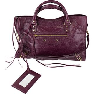 Balenciaga Violet Prune Classic Gold City Bag