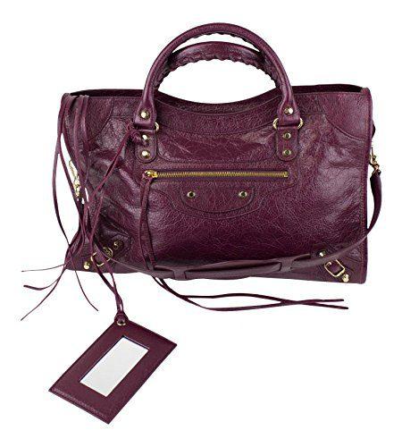 Balenciaga Violet Prune Classic Gold City Bag